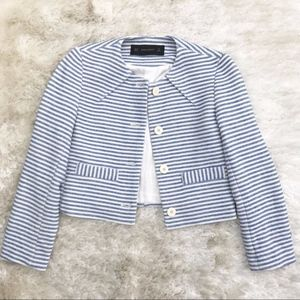 ZARA Cropped Striped Nautical Blazer